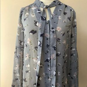 Express Long Sleeve Floral Sheer Button Up